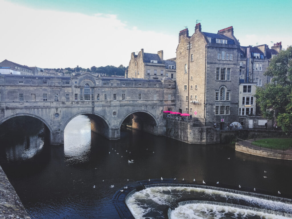 The Pulteney Bridge in Bath, England.