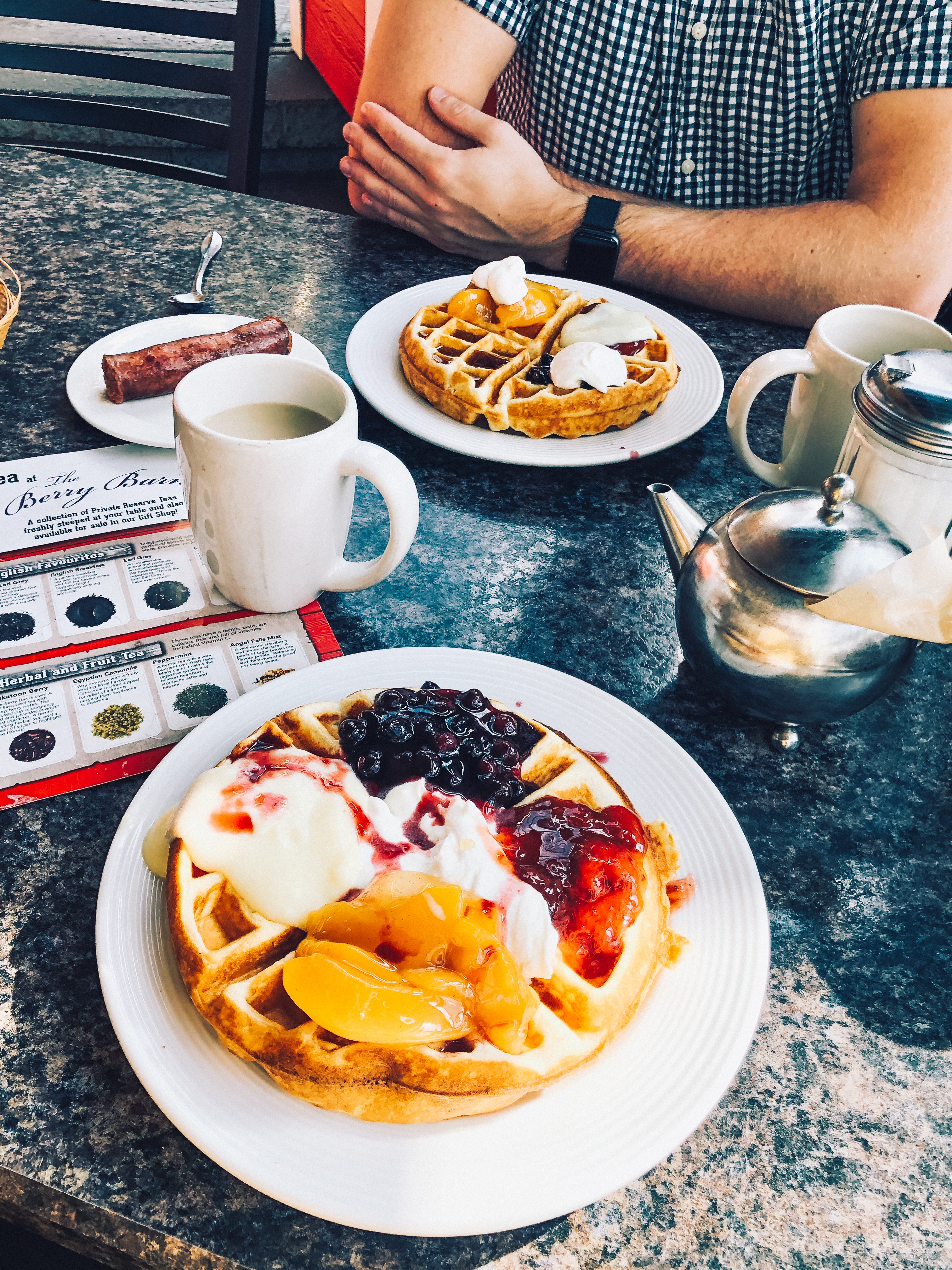 Eat some saskatoon berry waffles at the Berry Barn