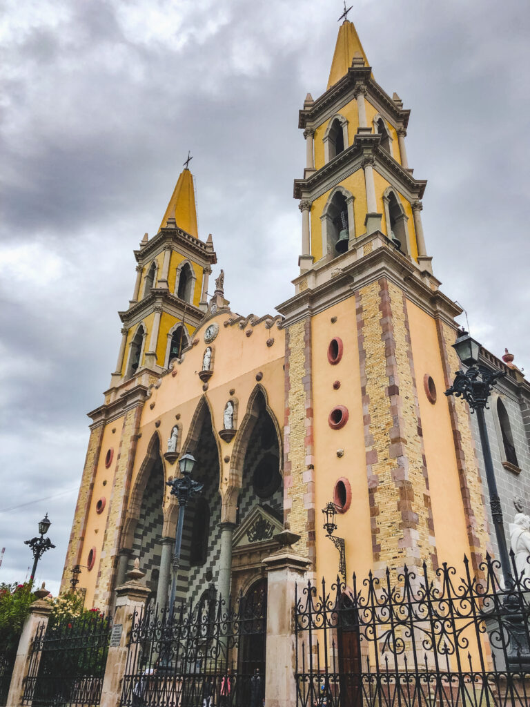 The main Cathedral in Mazatlán stands out with its yellow colour