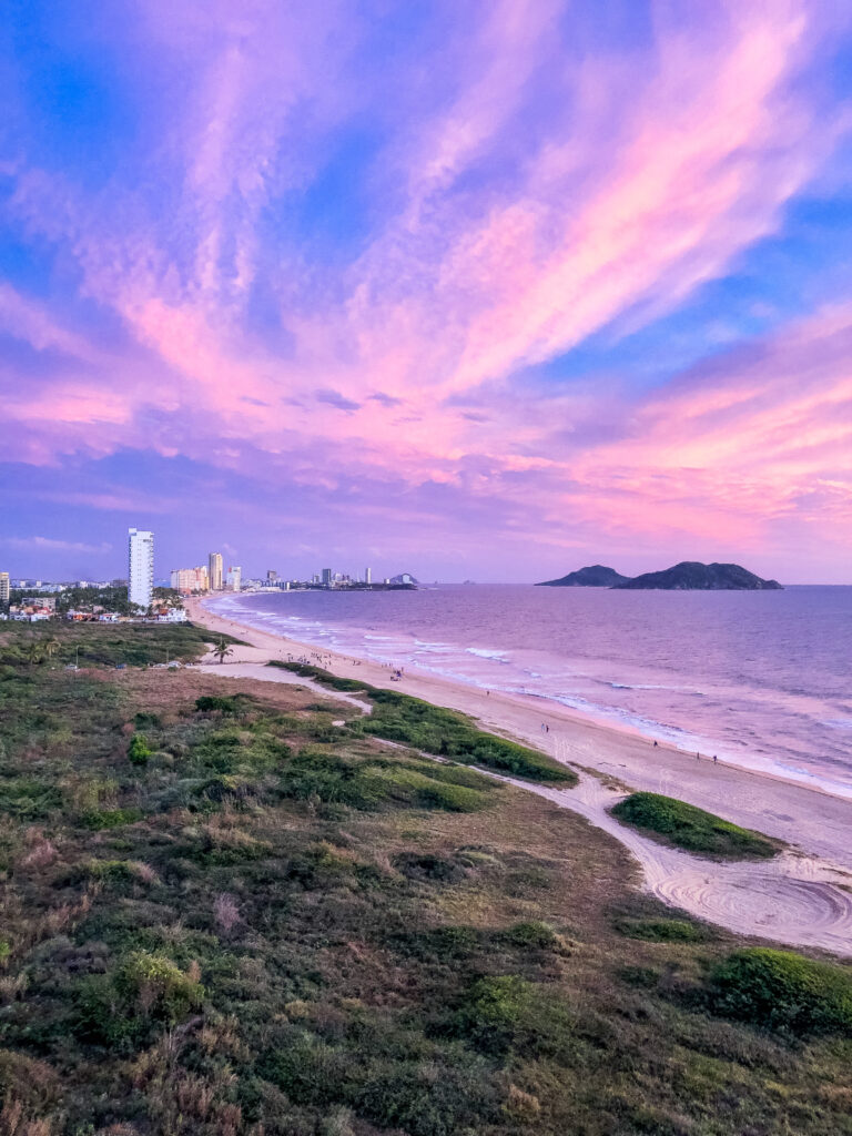 Beautiful sunset over the city of Mazatlán, Mexico
