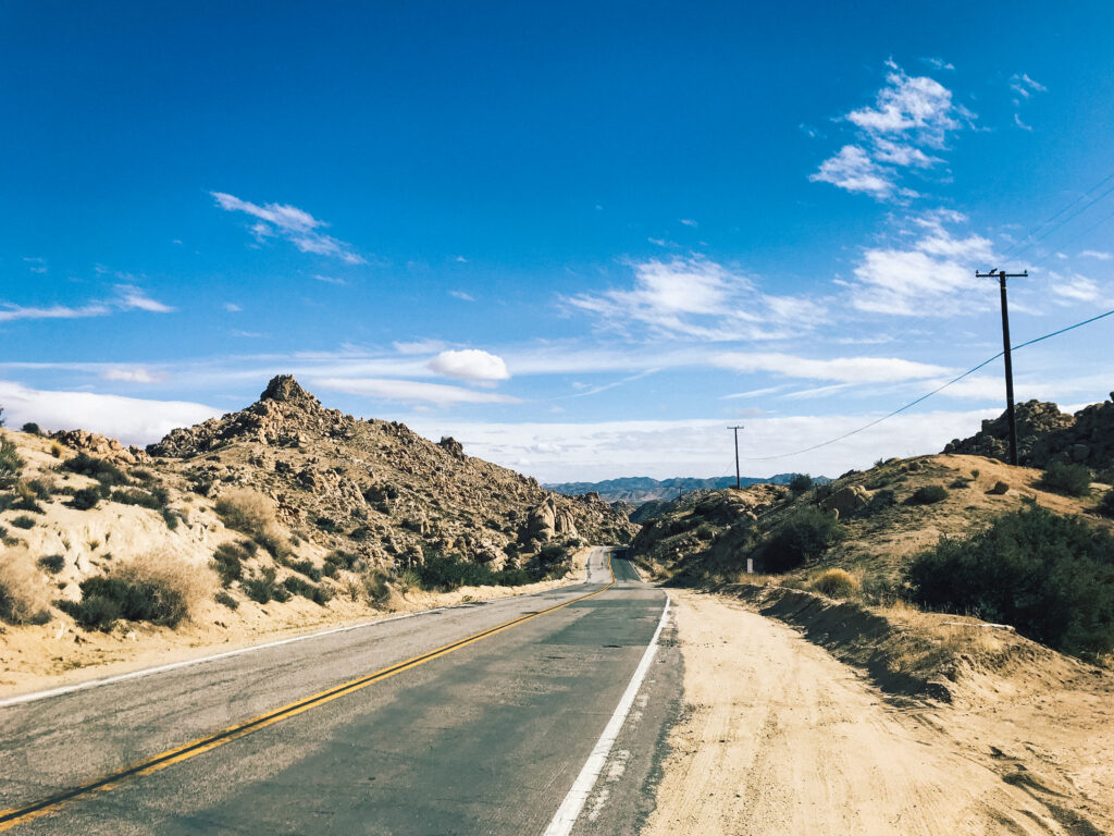 Driving through the Yucca Valley