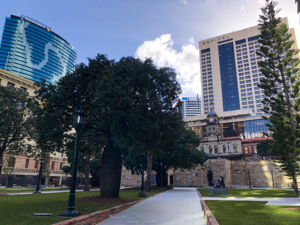 The 18 columns of the ANZAC Square Monument symbolize 1918, the end of WWI.