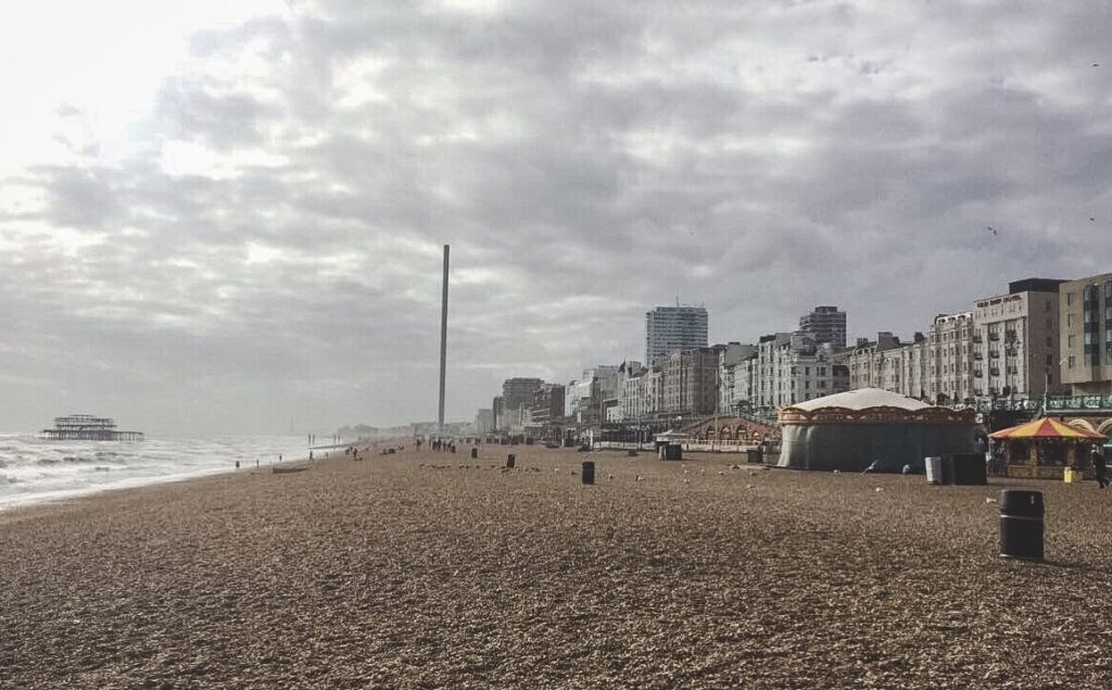 Here you can see both the West Pier and the i360 Tower down the beach.