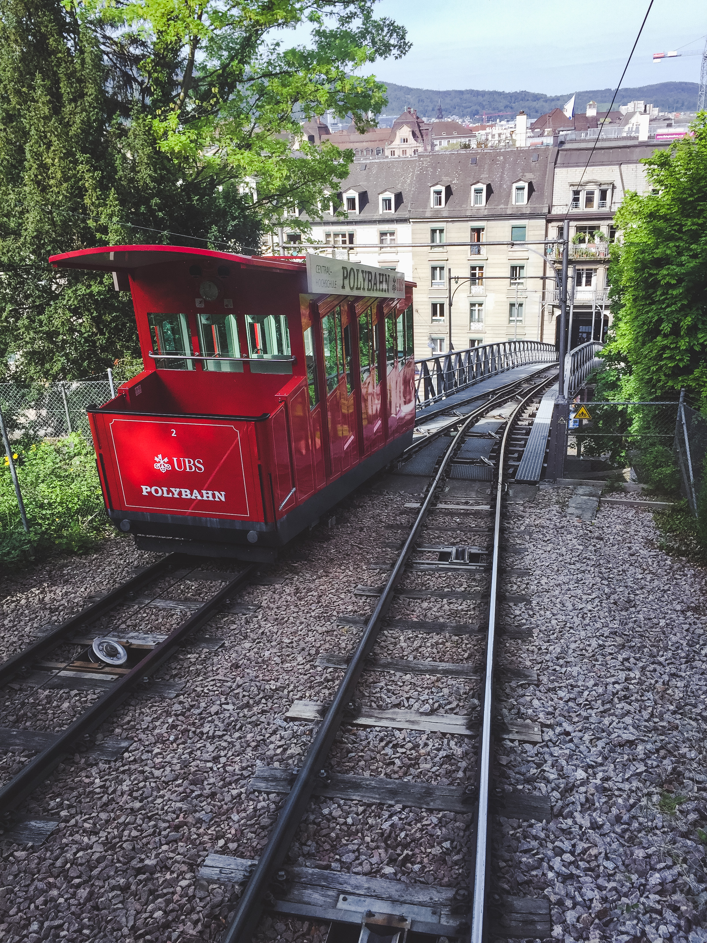 The UBS Polybahn is a funicular railway right in the city of Zürich, Switzerland