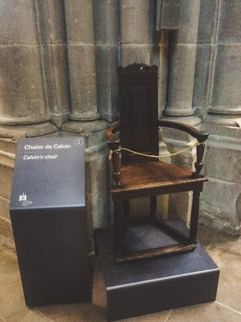 From 1536 to 1564 Protestant leader John Calvin preached here and you can still see his seat displayed in the north aisle.