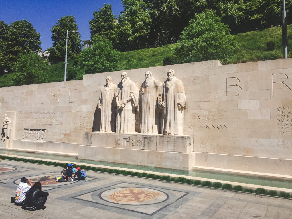 The leaders of the protestant reformation are depicted here at the Reformation Monument