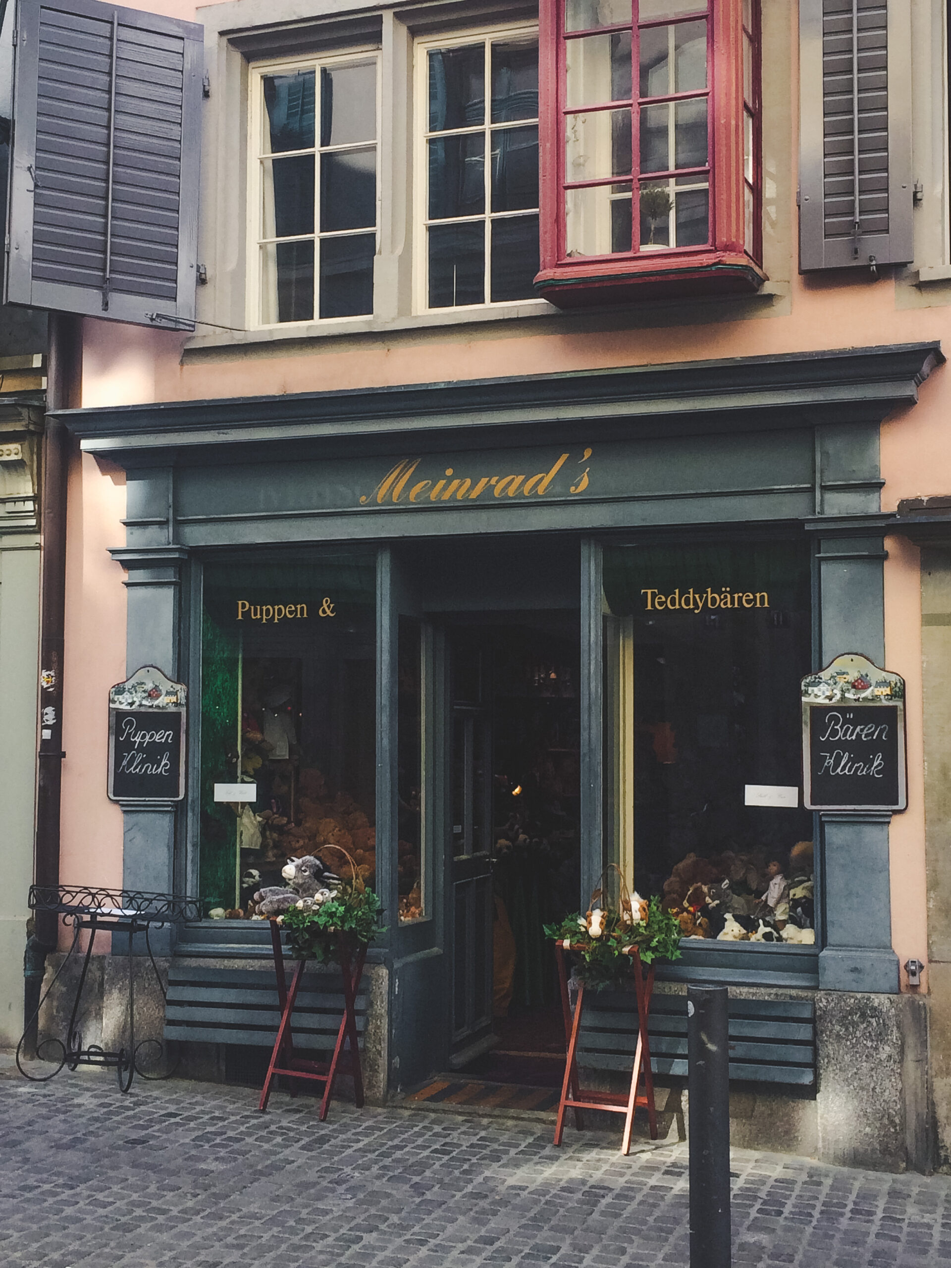 Meinrad's Puppen & Teddybären is an adorable shop that is the epitome of Old Town Zürich
