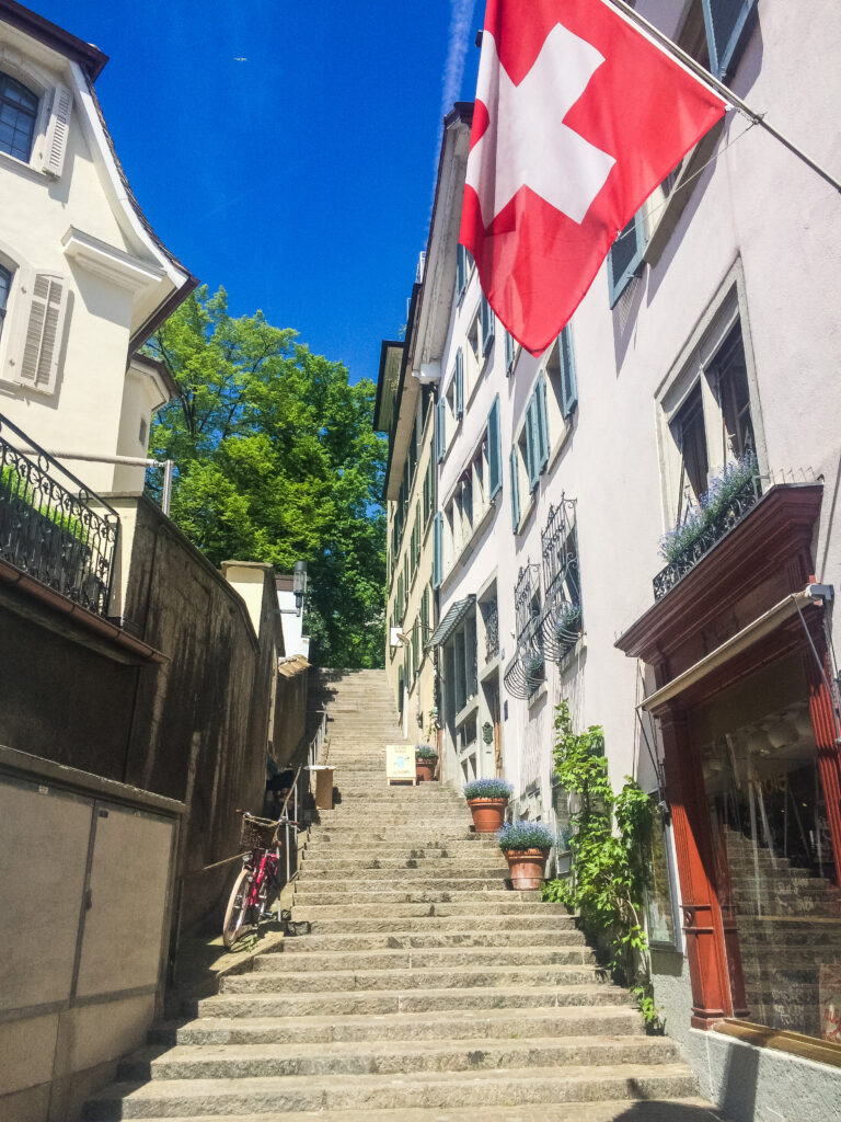 The stairs up to Lindenhof leading up to the best views of Zürich, Switzerland.