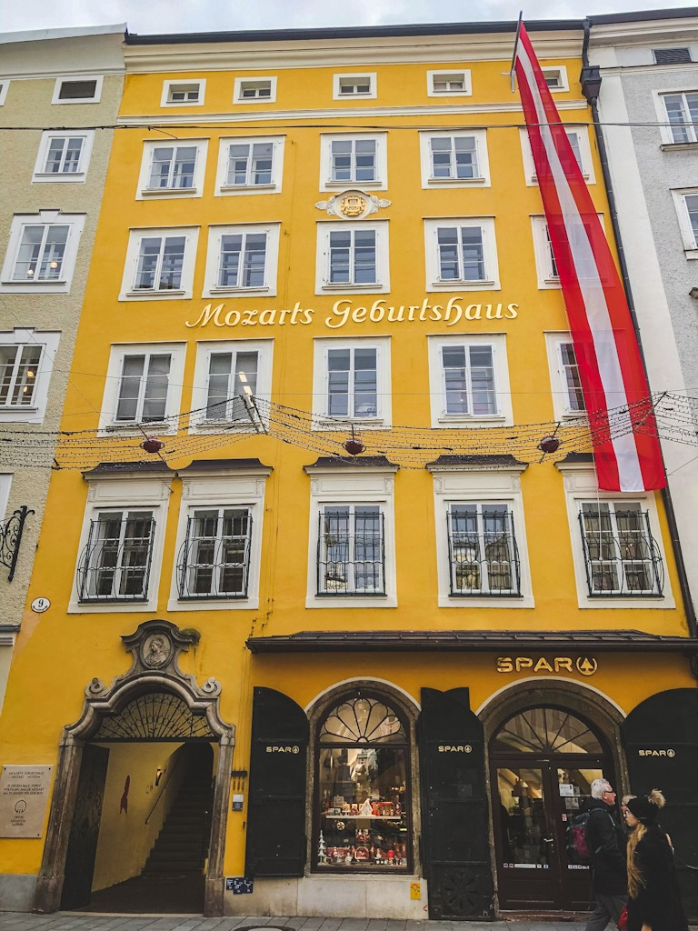 Wolfgang Amadeus Mozart, Salzburg's most famous composer, was born in this bright-yellow house in 1756. He spent the first 17 years of his life here.