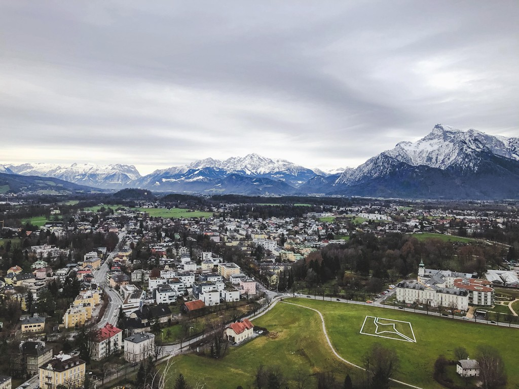 The view from Festung Hohensalzburg looking out towards the Tyrol Mountains
