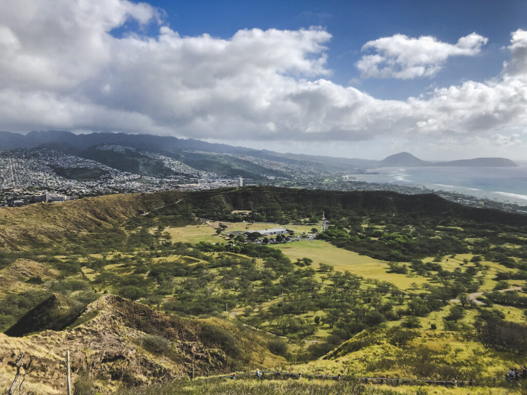 The extinct crater of Diamond Head is now a state monument and one of the most popular hikes on Oahu! The hiking trail up to the 760ft-high summit was built in 1908 to service military observation stations located along the crater rim.