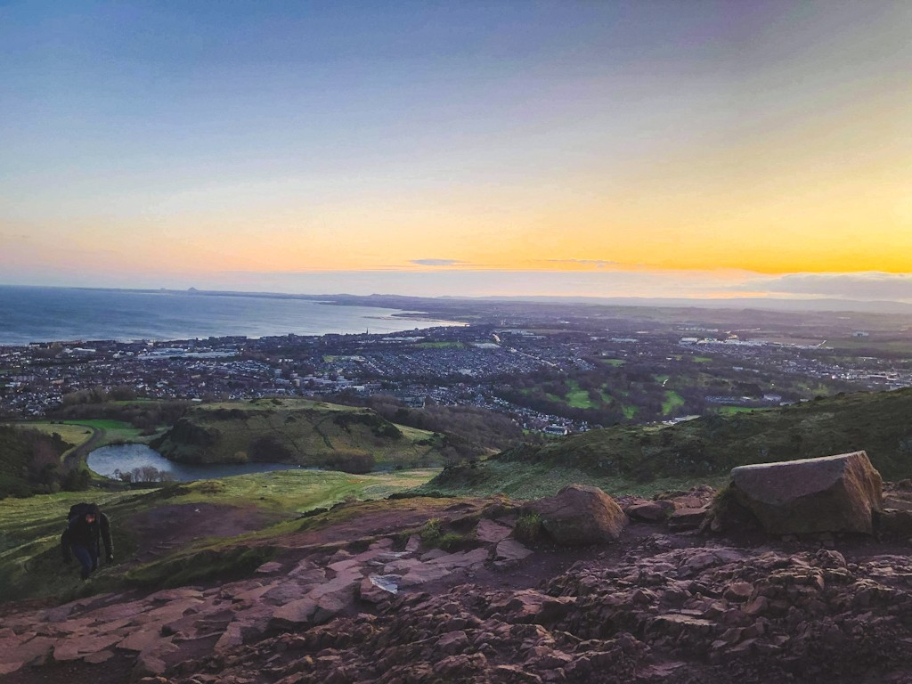 The rocky peak of Arthur's Seat (251m), was carved by ice sheets from the deeply eroded stump of a long-extinct volcano. It's now a distinctive feature of Edinburgh's skyline and a fantastic viewpoint of the city. You can hike from Holyrood Palace to the summit in around 45 minutes.
